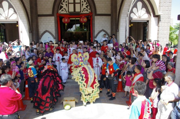 Chinese New Year Lion Dance at church porch