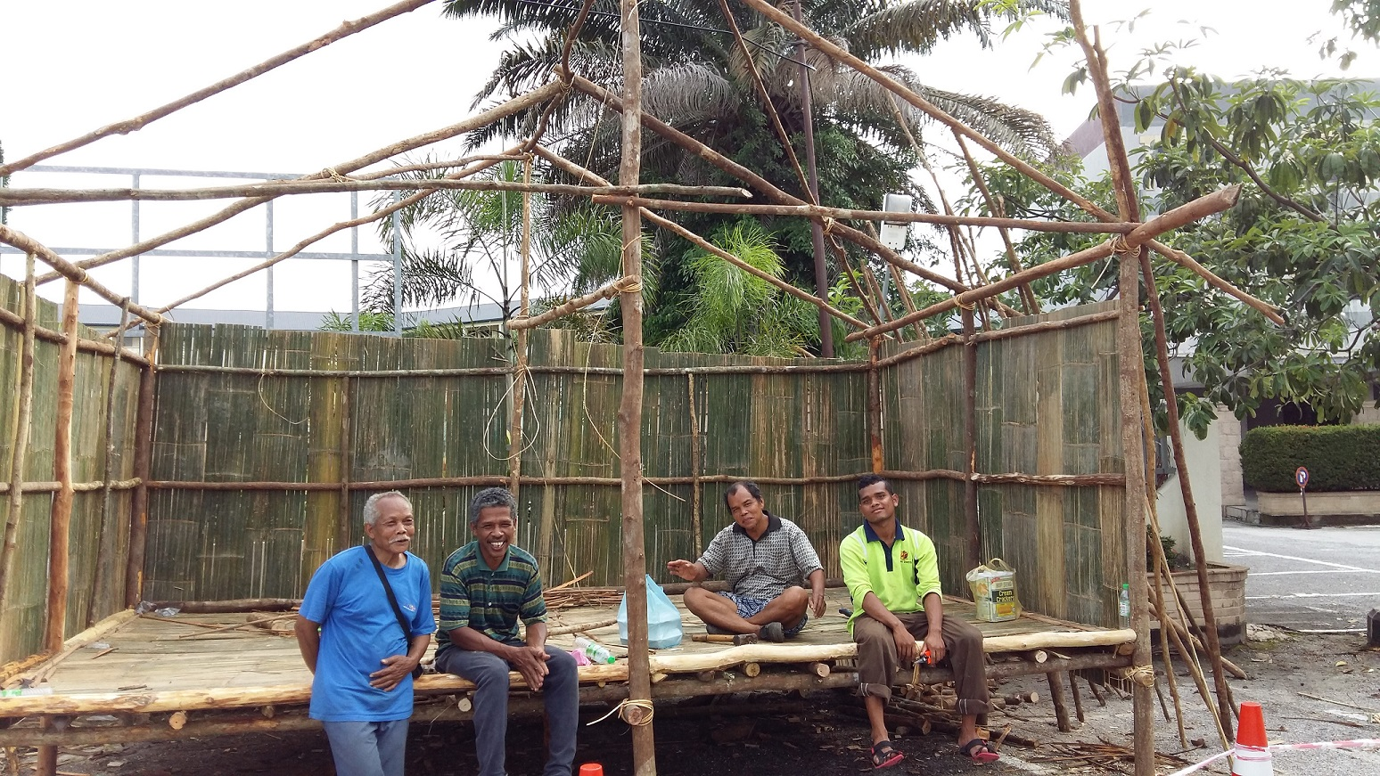 Our orang asli friends from Kg Sekam resting after initial construction.