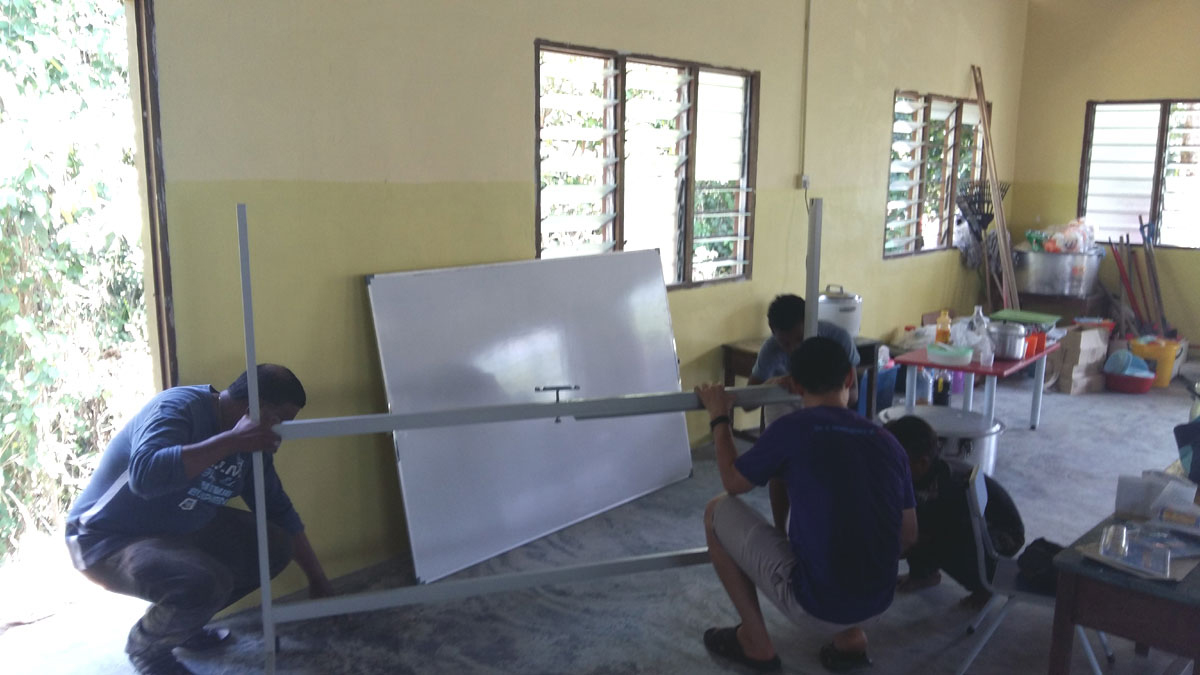 Setting up whiteboard for learning centre