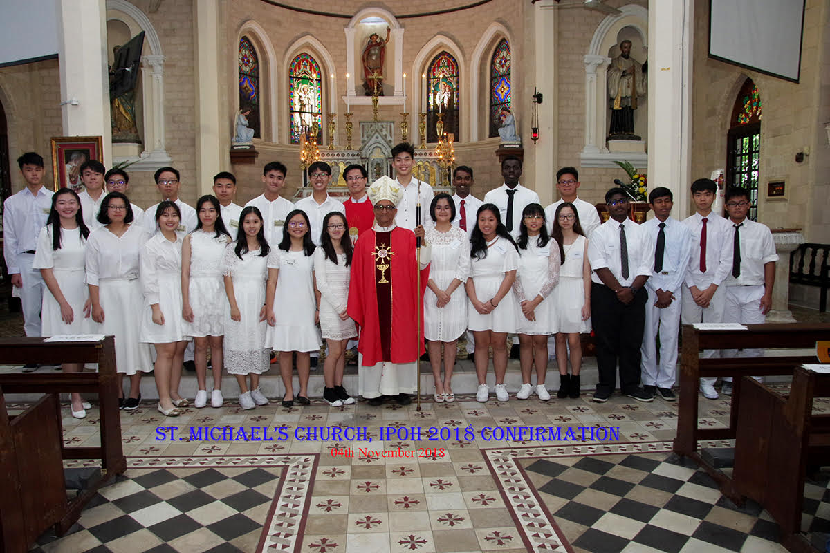 Confirmands with Bishop Sebastian and Fr Anthony Liew
